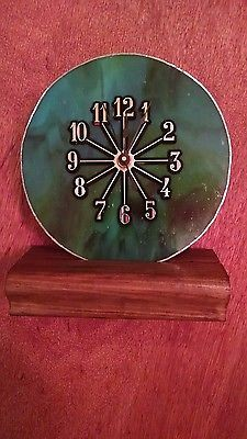 Beautiful Blue Green Swirl Stained Glass Clock -