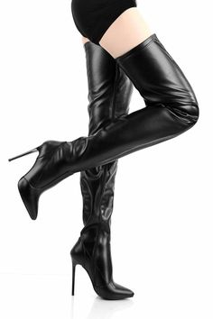 Elegant fetish thigh high boots with thin high heels in black leather look. Delivered from stock in the Netherlands. Giaro Heels, Thigh High Boots Heels, Platform Ankle Boots, Platform High Heels, Black High Heels, Heeled Boots, Sexy Boots, Black Boots, Crotch Boots