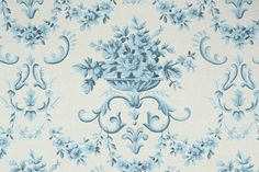 1950's Vintage Wallpaper - Floral Wallpaper with Blue Roses and Victorian Flower Damask on White