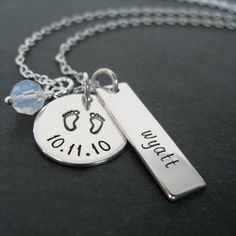Personalized Jewelry - Hand Stamped Necklace with Baby Feet Design. $53.00, via Etsy.