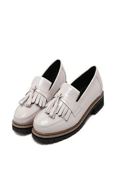 Beige Patent Tassel Oxford Shoes. Free 3-7 days expedited shipping to U.S. Free first class word wide shipping. Customer service: help@moooh.net