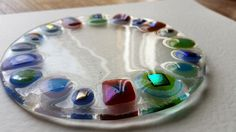https://flic.kr/p/wyHzT1 | Round glass flat plate £20 | Lovelli Glass - fused glass.  All items can be bought via Etsy - Lovelli Glass www.etsy.com/uk/listing/244653109/one-off-round-glass-fla...