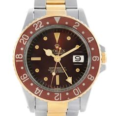 Rolex GMT Master Rootbeer Steel 18K Yellow Gold Vintage Watch 1675