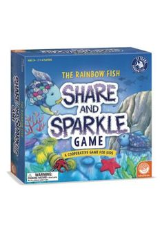 Mindware The Rainbow Fish - Share And Sparkle Kids Game. A cooperative game about sharing the fun for kids! The Rainbow Fish loves to swim in the waves as the tide comes in. But to catch a wave, The Rainbow Fish needs to have all of his scales in place - especially his magical sparkly scale. Players must work together to collect and share scales so The Rainbow Fish is ready for the ride before the wave reaches the shore.    The Rainbow Fish Share and Sparkle Game teaches children that…