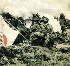 Imperial Japanese Soldier with a flag on 8 October 1941, Smokescreen at the Hunan Front near Changsha, Shashin Shuho Magazine No 189