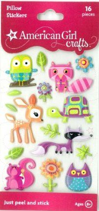 American Girl Crafts Pillow Stickers, Land Animals by EK Success. $4.99. Placed on acetate sheet. Puffy sticker. Matte coating. For Ages 8+. Includes 16 stickers. From the Manufacturer                American Girl Crafts are especially designed for girls to 12 years old to encourage development and self-expression. Show your style with these colorful dimensional animal stickers. Sticker sheet is 2.25 inches  4 inches .                                    Product Description  ...