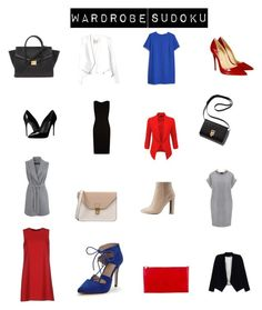 """Office outfits in primary colours. Wardrobe sudoku - any line, any way."" by elizabethtennent on Polyvore featuring BOSS Hugo Boss, MANGO, Dolce&Gabbana, Christian Louboutin, Qupid, LE3NO, Rebecca Taylor, Miss Selfridge, Alice + Olivia and Forever 21"