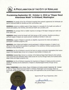 KIRKLAND, WA- Mayoral proclamation recognizing Diaper Need Awareness Week (Sep. 26-Oct. 2, 2016) #DiaperNeed Diaperneed.org