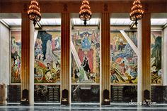 Mural by Eugene Savage, Texas Hall of State, Dallas, Texas Office Mural, World Of Tomorrow, Art Deco Buildings, Design Movements, Grand Staircase, Mosaics, Murals, Art Nouveau, Fountain
