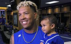 The Kansas City Royals' Salvador Perez talks about being selected starting catcher for the 2017 All-Star Game, with his son, Johan, at his side.
