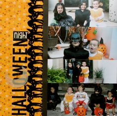 Halloween Scrapbook layout - LOVE the black cats in a row (can make them with my cricut)  Simple Layout