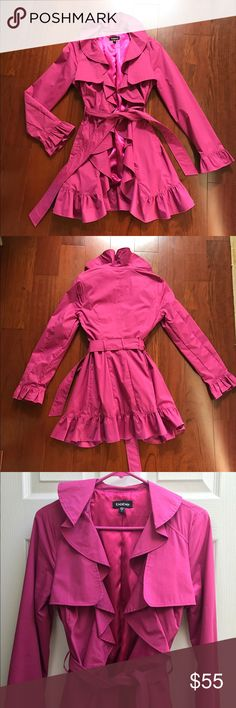Bebe Magenta Ruffle Trench Coat Beautiful magenta Trench Coat!! I'm in love with the ruffles! Only worn a couple times. Like new! bebe Jackets & Coats Trench Coats