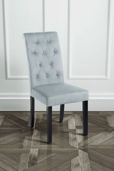 Genoa Silver Upholstered Scroll Back Dining Chair with Dark Legs