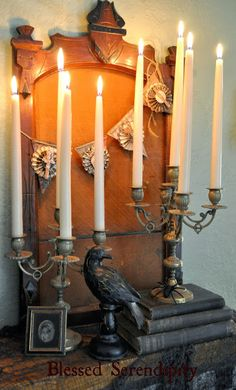 Antique Frames and Candelabras used in a spooky Halloween mantel.  Featured at the Knick of Time Vintage Inspiration party - knickoftimeinteri...