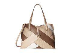 CALVIN KLEIN Unlined Jetlink/Raffia Patchwork Tote. #calvinklein #bags #shoulder bags #hand bags #tote #lining #