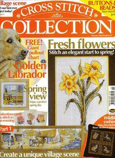 Cross Stitch Collection 88 2003 Golden Labrador, garden Doll, ring box, Valentines, Spring