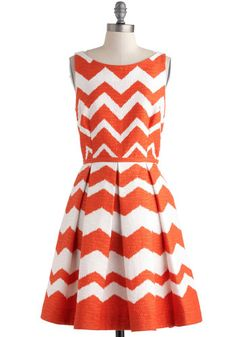 Love this fit & flare chevron print! At Every Pattern Dress in Orange Zigzag, #ModCloth