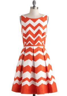 Orange chevron dress- in a different color maybe; i don't like wearing orange Zig Zag Dress, Chevron Dress, Striped Dress, Retro Vintage Dresses, Vintage Circus, Dress Patterns, Pattern Dress, Orange Dress, Mellow Yellow
