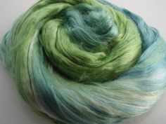 Mulberry Silk Roving Top Hand Dyed 20 grams for spinning, felting fibre, needle felting, 2078 Green Blue Nuno Felting, Needle Felting, Mulberry Silk, Spinning, Blue Green, Fiber, Top, Color, Hand Spinning