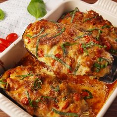Stuffed Eggplant Parm – Stuffed Eggplant Parm is the low-carb dinner that will make you actually want to eat vegetables. Fu – Stuffed Eggplant Parm – Stuffed Eggplant Parm is the low-carb dinner that will make you actually want to eat vegetables. Good Healthy Recipes, Veggie Recipes, Easy Dinner Recipes, Low Carb Recipes, Diet Recipes, Dinner Ideas, Egg Plant Recipes Healthy, Stuffed Eggplant Recipes, Healthy Eggplant Recipes