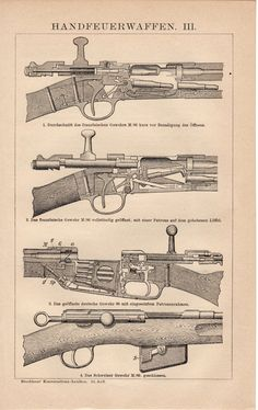 1897 Old Firearms Antique Print English French and by Craftissimo, €12.95