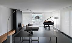 Living Space, Fireplace, Minimalist Home in Lugano, Switzerland by Victor Vasilev