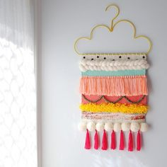 When you find out that one of your top two all time favourite nieces is getting a new bedroom, you pull out all the tricks. Pom poms,… of lovers Weaving Wall Hanging, Weaving Art, Loom Weaving, Tapestry Weaving, Wall Hangings, Weaving Projects, Craft Projects, Diy Hanger, Wall Hanger