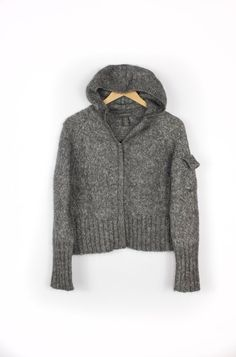Mohair Hooded Sweater - Charcoal Gray Wool Blend Banana Republic Zip Up Cardigan Hoodie - Womens Medium on Etsy, $44.00