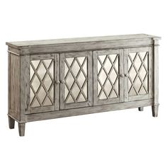 Perfect for stowing glassware in your dining room or displaying a bouquet of fresh blooms in the den, this 4-door mirrored sideboard showcases latticed pa...