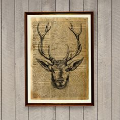 Wild animal decor for home and office. Deer poster on a handmade antique dictionary page. 8.3 x 11.7 inches (A4) stag print.  BUY 1 GET 1 FREE - use