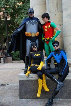Bat family cosplay; Batman, Robin, Batgirl, Nightwing.