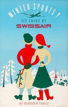 Winter Sports - Swissair vintage ski poster cute village in background Ski Vintage, Vintage Ski Posters, Vintage Advertising Posters, Vintage Postcards, Vintage Advertisements, Poster Retro, Poster Ads, Poster Prints, Retro Airline