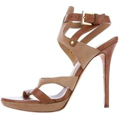 Pre-owned Herve Leger Leather Ankle-Strap Sandals (€105) ❤ liked on Polyvore featuring shoes, sandals, brown, brown sandals, brown leather shoes, buckle shoes, buckle sandals and brown shoes