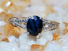 Natural Madagascan Midnight Blue Sapphire/ Diamond Ring 1.42ct sz9 3 Gemstone Comfort Fit 925 Sterling Silver Free Domestic Shipping by Montanasilver796 on Etsy
