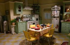 """Gilmore Girls: Fun Facts and Photos from the Town of Stars Hollow (Lorelai's kitchen with vintage-style appliances in """"A Year in the Life"""")"""