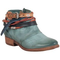 A.S.98 Women's Begonia Ankle Boot ($350) ❤ liked on Polyvore featuring shoes, boots, ankle booties, teal, faux leather booties, short booties, ankle strap boots, strappy booties and leather upper boots
