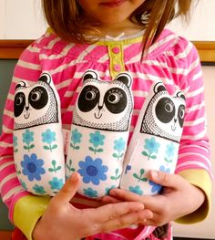 Screen printed handmade toy Panda plush with 70s or 50s vintage fabric by Jane Foster