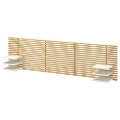 A clean, minimalist design with the convenience of shelves to keep books and glasses within easy reach. Pair it with MANDAL bedframe to extend your storage possibilities when you're tight on space. Wall Mounted Headboards, Headboard With Shelves, Diy Headboards, Ikea Mandal Headboard, Wood Headboard, Slat Wall, Wood Slats, Adjustable Shelving, Minimalist Design