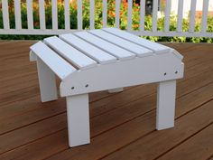 White Synthetic Wood Rectangle Outdoor Ottoman Modern Outdoor Furniture, Home Furniture, White Ottoman, Square Ottoman, Outdoor Spaces, Outdoor Decor, Wood, Classic, Home Decor