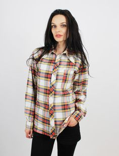 Vintage 70's Plaid Wing Collar Buttoned Men Shirt Size S by Ramaci