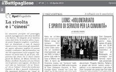 """Suln.23/2013de """"il Battipagliese"""" un'intervista al Presidente Avv. Corrado Spina sull'attività dei Lions a Battipaglia. ... (Il presente articolo, a firma del sottoscritto, e pubblicato su """"Il Ba..."""