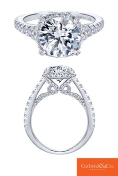 A timeless love filled with so much shine and sparkle! A beautiful Amavida 18k White Gold Diamond Halo Engagement Ring by Gabriel & Co. This gorgeous piece was made for a lucky woman! Make sure to find your perfect engagement ring with Gabriel & Co.
