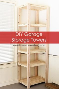 DIY Garage Storage Towers. The four posts are just 2×4's and are eight feet long.