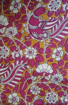 Handloom Cotton fabric with Kalamkari print Kalamkari Designs, Yellow Saree, Silk Fabric, Fabrics, Patterns, Prints, Inspiration, Art, Tejidos