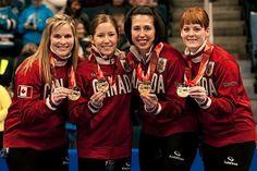 Canadian curling team Jennifer Jones, Kaitlyn Lawes, Jill Officer & Dawn McEwen, alternate Kirsten Wall  WIN GOLD  UNDEFEATED 2014 Sochi Olympics