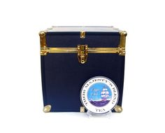 Vintage Steamer Trunk Nautical Navy Blue Brass by OceansideCastle, $78.99