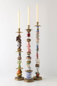 I love these candlesticks Crafts To Do, Arts And Crafts, Diy Crafts, Craft Projects, Projects To Try, Junk Art, Recycled Art, Repurposed, Vintage Crafts