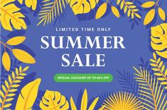 Limited time summer sale banner template... | Premium Vector #Freepik #vector #banner #frame #sale #abstract Summer Banner, Yellow Leaves, Sale Banner, Banner Template, Summer Sale, Banner Design, How To Draw Hands, Templates, Abstract