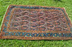 Antique Persian Rug // Malayer With Fine Boteh Design // Size 4x6 // Navy, Blue, Gold, Teal and Pink