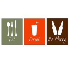 Eat Drink and Be Merry  Set of Three Coordinating 11x14 by Tessyla, $59.50